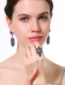 Fashion Blue Water Drop Shape Decorated Ring
