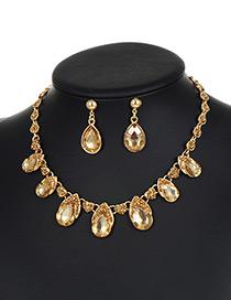 Fashion Champagne Water Drop Shape Diamond Decorated Jewelry Sets