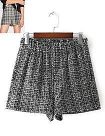 Fashion White+black Grid Pattern Decorated Simple Skirt