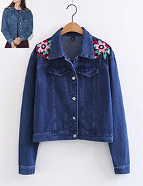 Fashion Blue Embroidery Flower Design Simple Coat