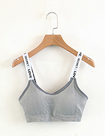 Fashion Gray Letter Pattern Decorated Vest