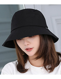 Fashion Black Pure Color Decorated Fisherman Sunshade Hat