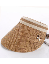 Fashion Light Coffee Bowknot Decorated Hand-woven Sun Hat