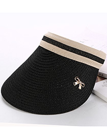 Fashion Black Bowknot Decorated Hand-woven Sun Hat