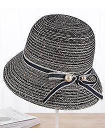 Fashion Navy Pearls Decorated Fisherman Sunshade Hat