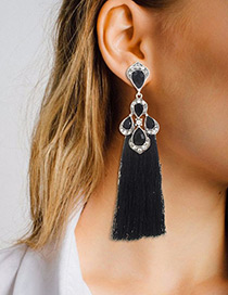 Trendy Black Diamond Decorated Long Tassel Earrings
