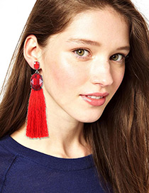 Fashion Red Diamond Decorated Long Earrings