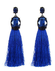 Fashion Sapphire Blue Diamond Decorated Long Earrings