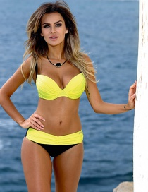 Sexy Yellow+black Color Maching Decorated Bikini