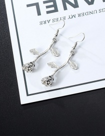 Fashion Silver Color Flowers Shape Design Long Earrings