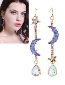 Fashion Blue Moon&stars Decorarted Long Earrings