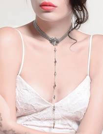 Fashion Silver Color Flowers Decorated Long Necklace