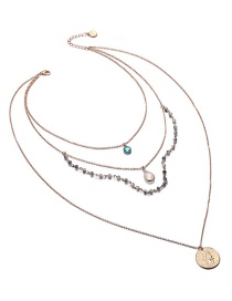 Fashion Gold Color+white Round Shape Decorated Multi-layer Necklace
