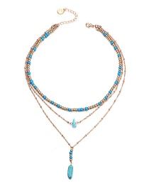 Fashion Gold Color+blue Beads Decorated Multi-layer Necklace