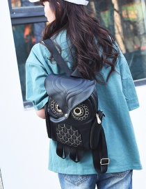 Fashion Black Owl Shape Decorated Backpack
