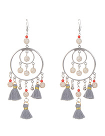 Fashion Gray Beads Decorated Short Tassel Earrings