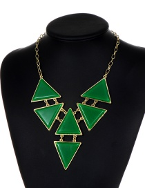 Fashion Green Triangle Shape Decorated Necklace