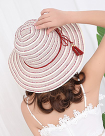 Fashion Red Strip Shape Decorated Hat
