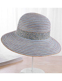 Fashion Blue Strip Shape Decorated Hat