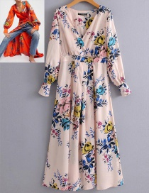 Fashion Pink Flower Pattern Decorated Long Sleeves Dress