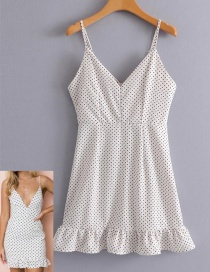 Fashion White Dots Shape Pattern Design Suspender Skirt