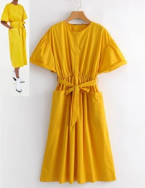 Fashion Yellow Pure Color Decorated Yellow Dress