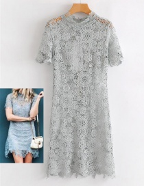 Fashion Gray Hollow Out Design Pure Color Dress
