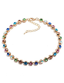 Fashion Multi-color Full Diamond Decorated Choker