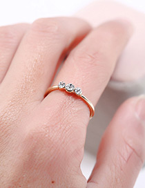 Fashion Gold Color Diamond Decorated Simple Ring