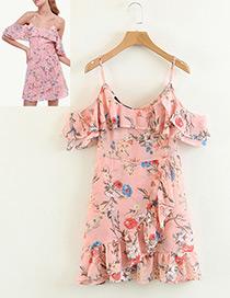 Fashion Pink Flower Shape Pattern Suspender Dress