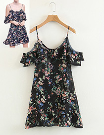 Fashion Black Flower Shape Pattern Suspender Dress