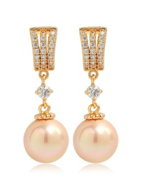 Fashion Champagne Round Shape Decorated Pearl Earrings