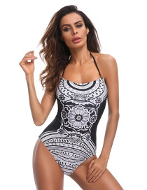 Sexy Black+white Flower Shape Decorated Swimwear