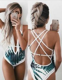 Sexy Green Leaf Shape Decorated Swimwear