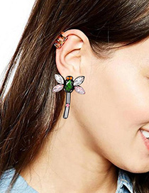 Fashion Pink+green Dragonfly Shape Decorated Earrings