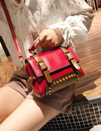 Fashion Red Rivet Decorated Square Bag