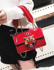 Fashion Red Diamond Decorated Square Bag