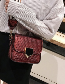 Fashion Claret-red Grid Shape Decorated Pure Color Bag