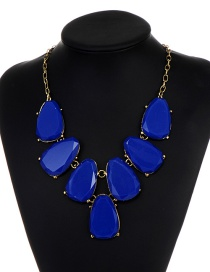Fashion Sapphire Blue Waterdrop Shape Design Necklace