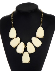 Fashion Beige Waterdrop Shape Design Necklace