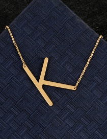 Fashion Gold Color K Letter Shape Decorated Necklace