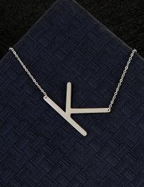 Fashion Silver Color K Letter Shape Decorated Necklace