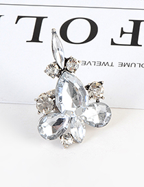 Fashion Silver Color Waterdrop Shape Decorated Pure Color Ring