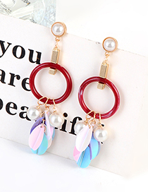 Fashion Claret-red Paillette Decorated Earrings