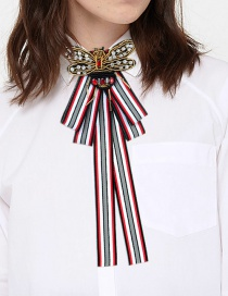 Fashion Red+black Butterfly Shape Decorated Bowknot Brooch