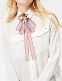 Fashion Pink Paillette Decorated Bowknot Brooch