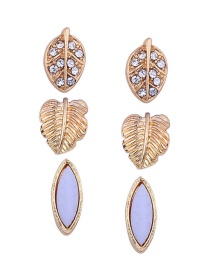Fashion Gold Color Leaf Shape Decorated Earrings(3pcs)