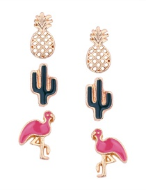 Fashion Gold Color Flamingos Shape Decorated Earrings(3pcs)