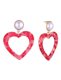 Fashion Red Heart Shape Design Earrings