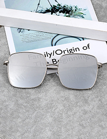 Fashion Silver Color Square Shape Decorated Sunglass
